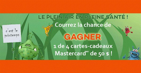 Concours Gagnez une des 4 cartes cadeaux Mastercard de 50$!
