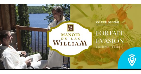 Concours Gagnez un forfait détente de 4 nuits au Manoir du Lac William d'une valeur de plus de 2500$!