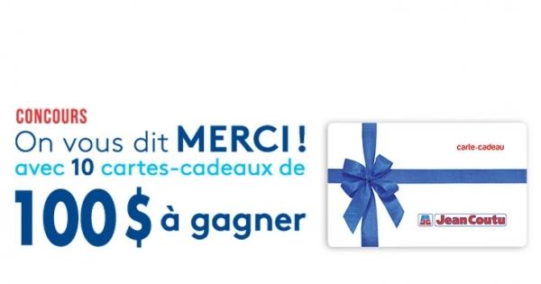 Concours Gagnez une des 10 Cartes-Cadeaux de 100$ chez Jean Coutu