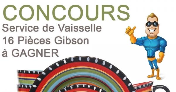 Concours Service de Vaisselle 16 Pièces Gibson à Gagner