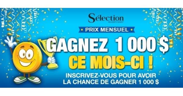 Concours Gagnez 1000 $ en argent!