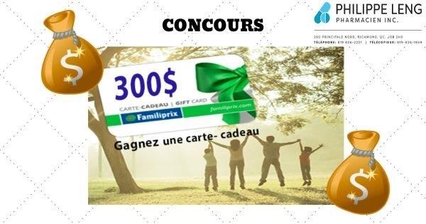 Concours Gagnez une carte cadeau de 300$ valide dans TOUS LES FAMILIPRIX!