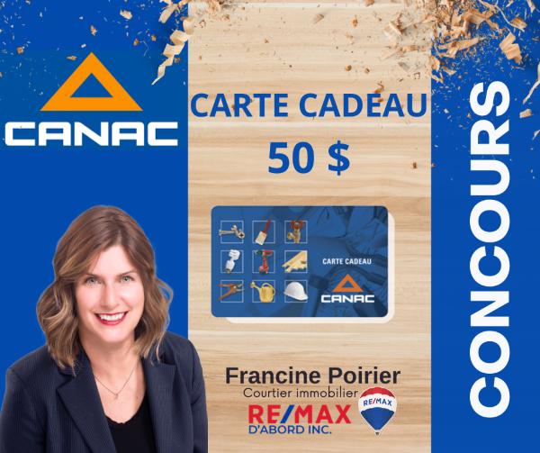 Concours Gagnez une carte cadeau de 50$ valide chez CANAC!
