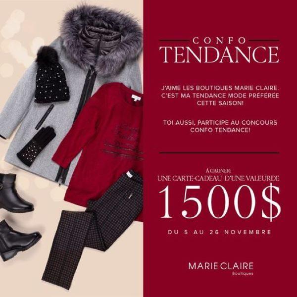 Concours Gagnez une carte-cadeau d'une valeur de 1500$ chez Boutiques Marie Claire!
