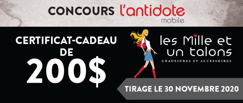 Concours Gagnez un certificat-cadeau de 200$ à la boutique Les Mille et un talons!
