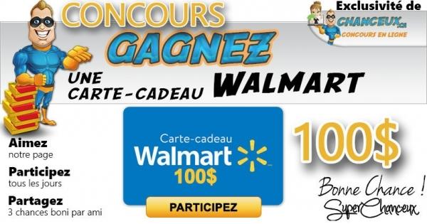 Concours GAGNEZ une Carte-Cadeau Walmart de 100$