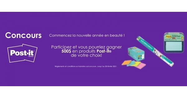 Concours Gagnez 500$ en produits Post-it de votre choix!
