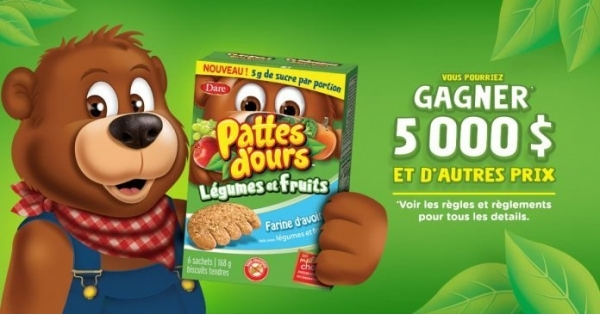Concours Gagnez un montant de 5000$ ou 1 an de Pattes d'ours Dare!