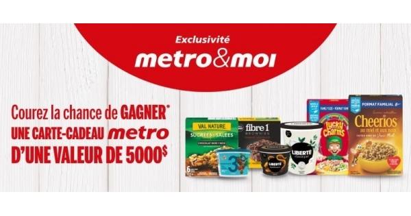 Concours Gagnez 5000$ en cartes-cadeaux Métro!