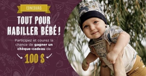 Concours Gagnez un chèque-cadeau de 100$ pour habiller bébé!