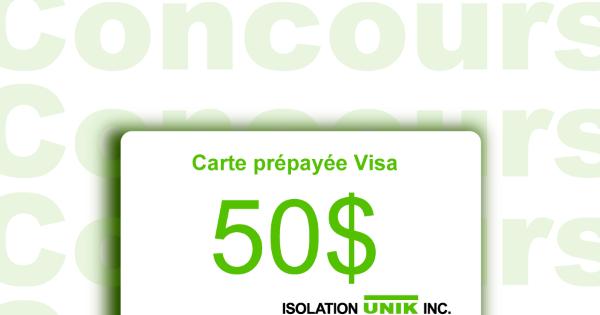Concours Gagnez une carte Visa prépayée d'une valeur de 50$!