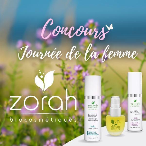 Concours Gagnez un panier cadeau  Zorah biocosmétiques d'une valeur de 150$ pour vous ainsi qu'une personne de votre choix!