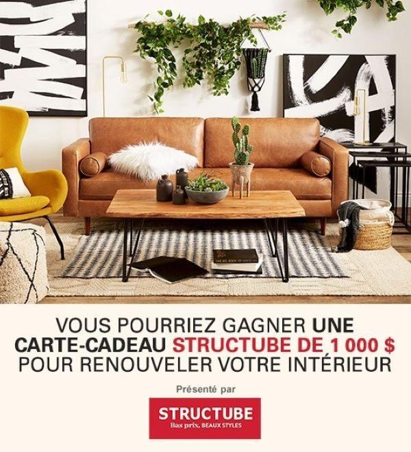 Concours Gagnez une sortie shopping chez Structube d'une valeur de 1 000$!