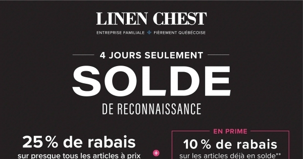 Image de la Promotion Circulaire Linen Chest du 15 au 18 Avril 2021