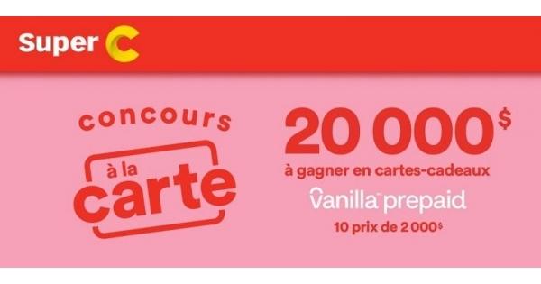 Concours Gagnez l'une des 10 cartes-Cadeaux Visa prépayées de 2000$ chacune!