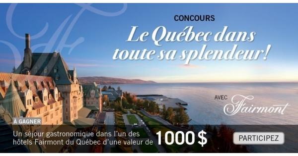 Concours Gagnez un séjour gastronomique dans l'un des hôtels Fairmont du Québec!