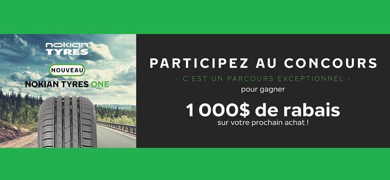 Concours GAGNEZ L'UN DES 3 CHÈQUES-CADEAUX DE 1 000 $ SUR VOTRE PROCHAIN ACHAT DE PNEUS NOKIAN TYRES