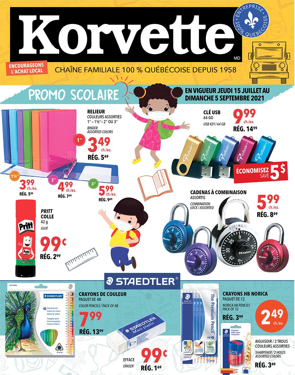 Circulaire Korvette - Promo Scolaire du 15 Juillet au 5 Septembre 2021 - Page 1