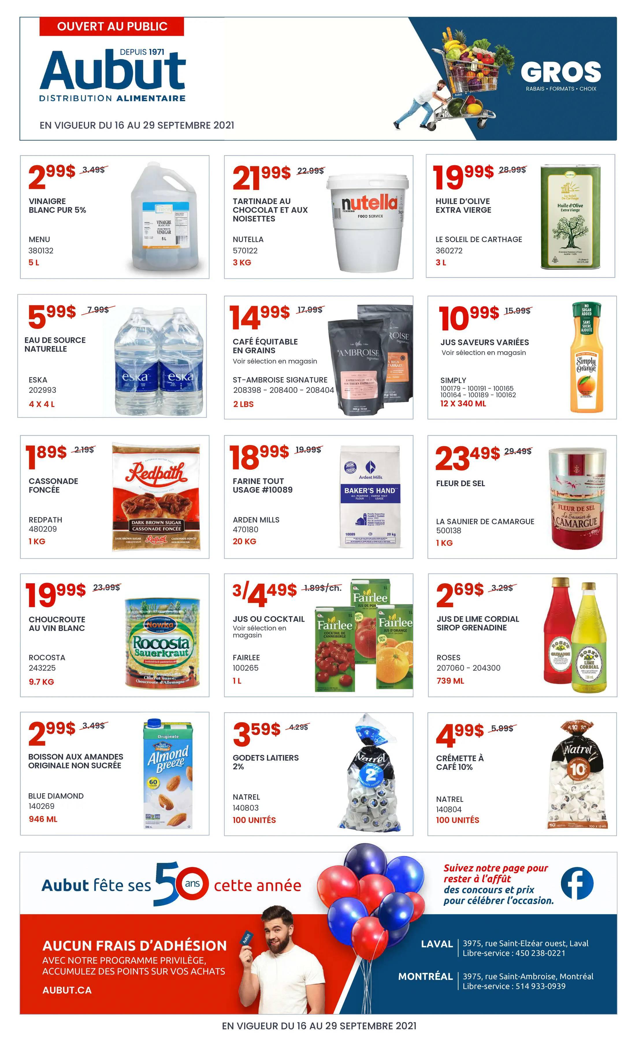 Circulaire Aubut - Grossiste Distribution Alimentaire du 16 au 29 Septembre 2021 - Page 1