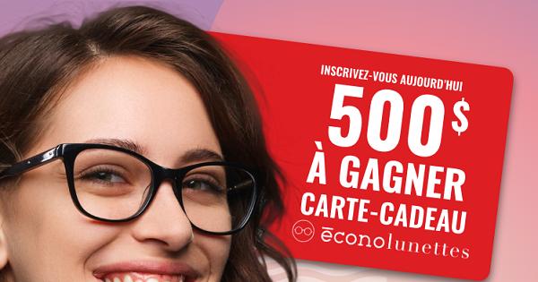 Concours Gagnez une Carte-cadeau Econolunettes d'une Valeur de 500$!