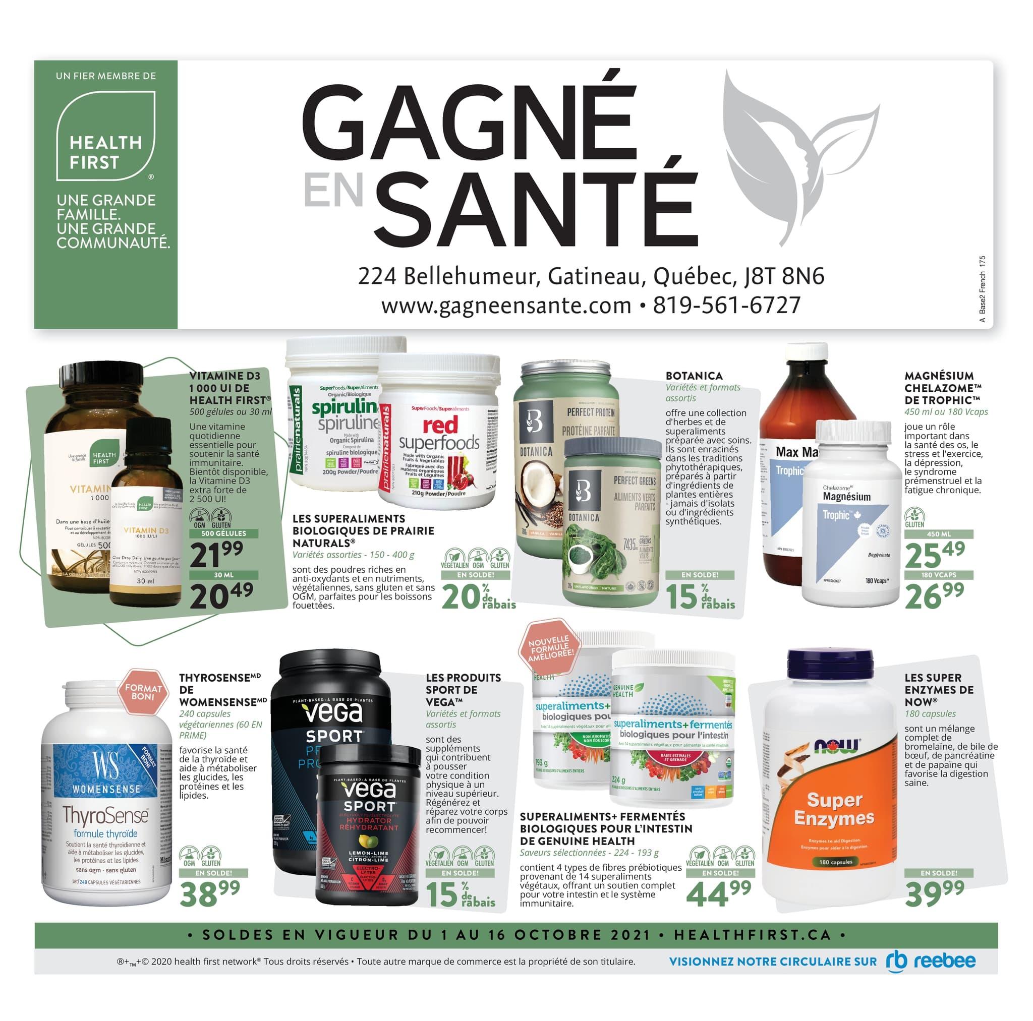 Circulaire Gagné en Santé du  1 au 16 octobre 2021 - Page 1