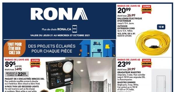 Image de la Promotion Circulaire Rona du 21 au 27 octobre 2021