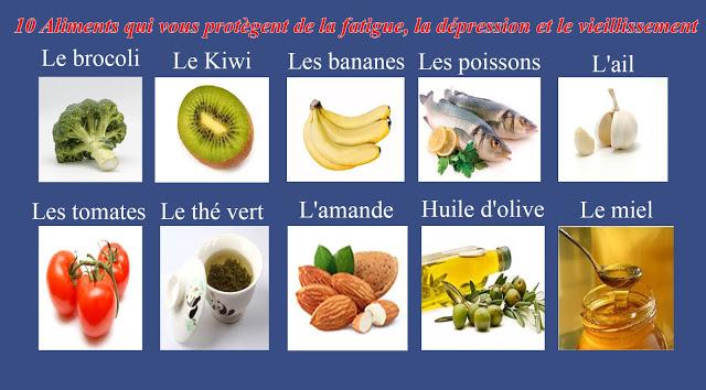 10 Aliments qui vous Protègent de la Fatigue, la Dépression et le Vieillissement