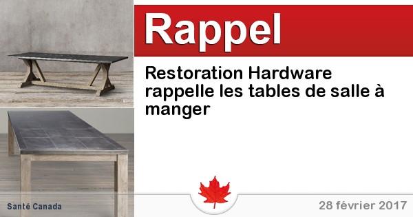 Restoration hardware rappelle les tables de salle manger for Portent of restoration