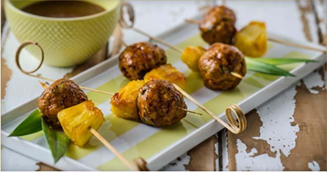 Boulettes de Porc Jerk avec Ananas Confit au Rhum