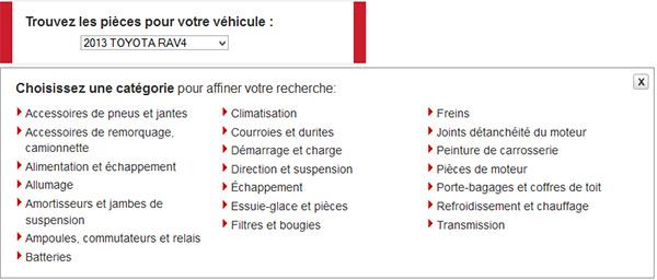 Canadian Tire - Sélecteur de pièces d'auto