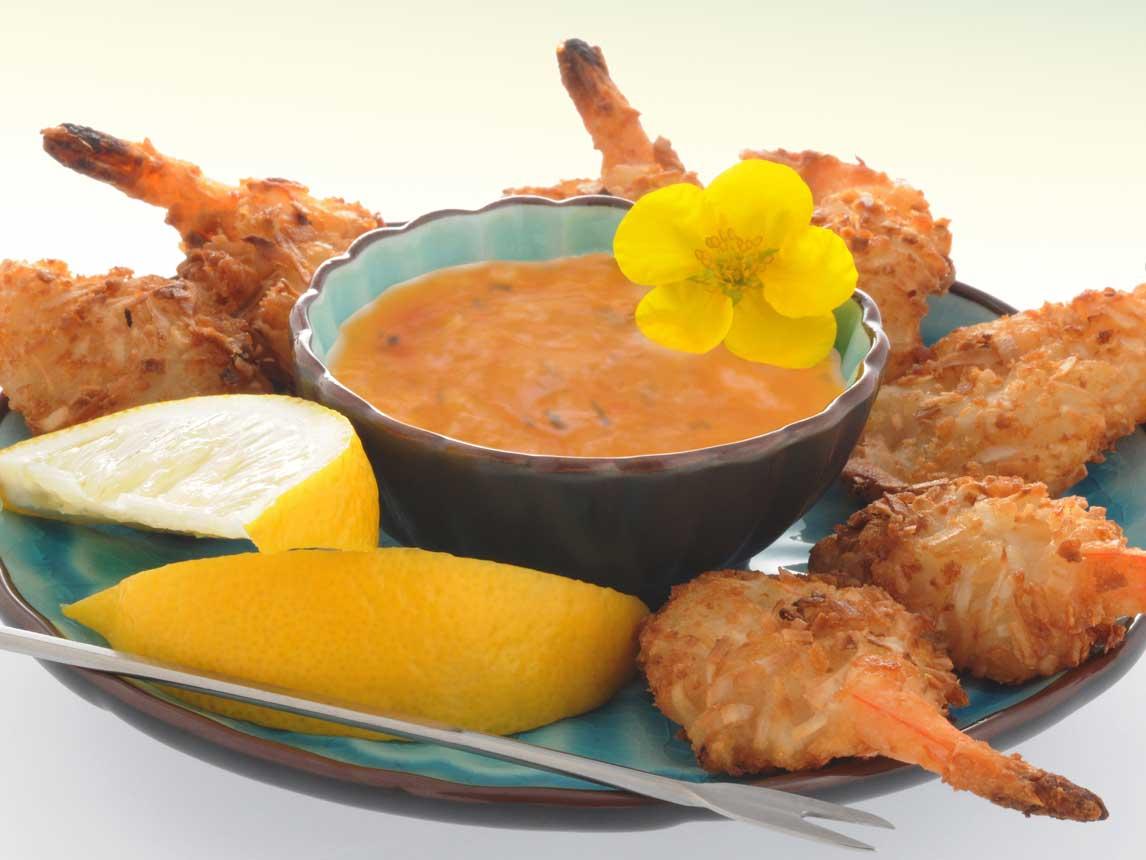 Crevettes à la Noix de Coco cuites au Four avec Trempette Piquante