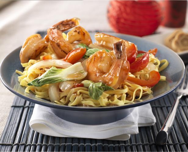 Crevettes à l'orange et au Gingembre avec Pak-choï et Nouilles
