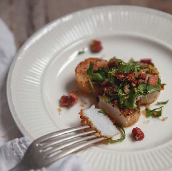 Photo Recette Pétoncles & Crumble de Chorizo