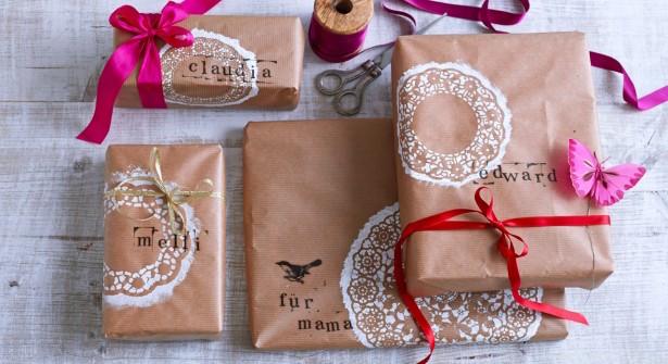 Paquets Cadeaux de Noël Originaux à Effet Dentelle