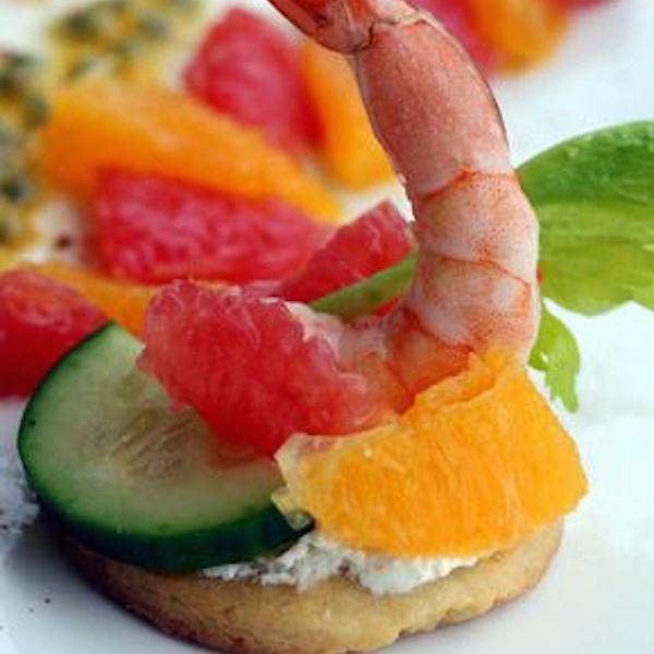 Recette Amuse-bouches aux Crevettes et Agrumes
