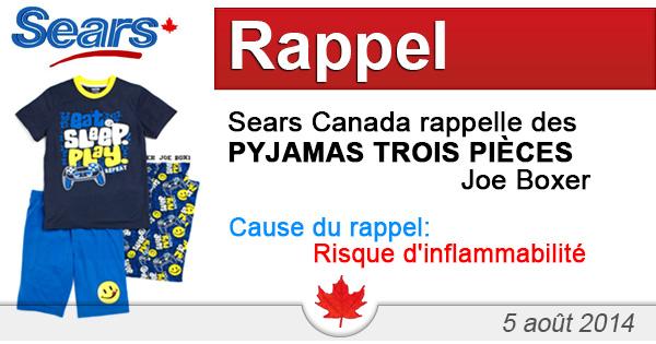 Sears Canada rappelle des pyjamas trois pièces Joe Boxer
