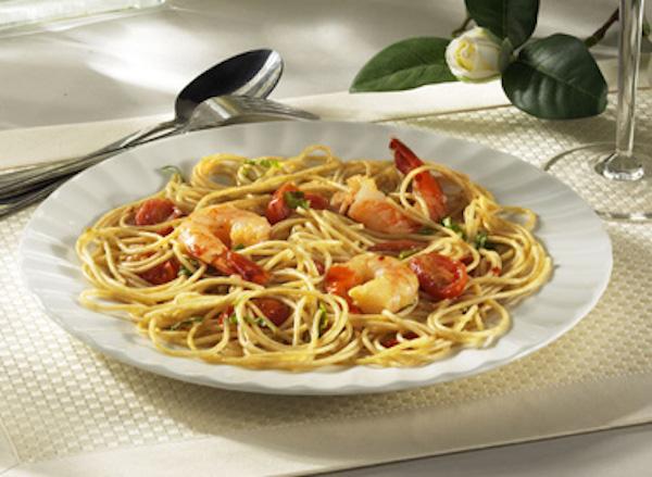 Photo Recette Spaghettini aux Crevettes, au Basilic et aux Tomates