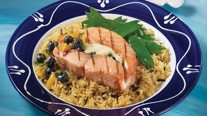 Photo Recette Tournedos de Saumon Grillés avec Salsa aux Bleuets