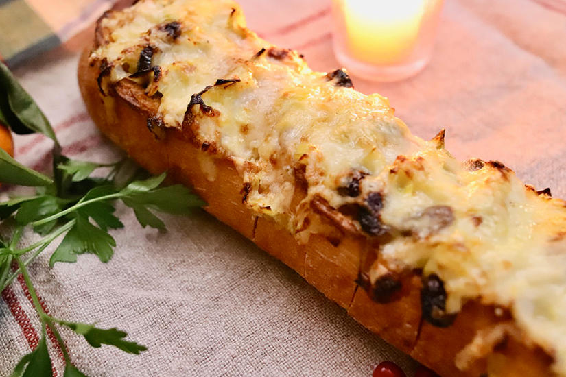 Photo Recette Baguette Festive Gratinée aux Poireaux et Canneberges