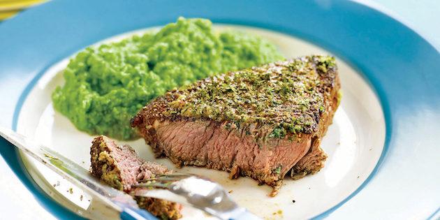 Bifteck Rôti au Fines Herbes et Purée de Pois Verts