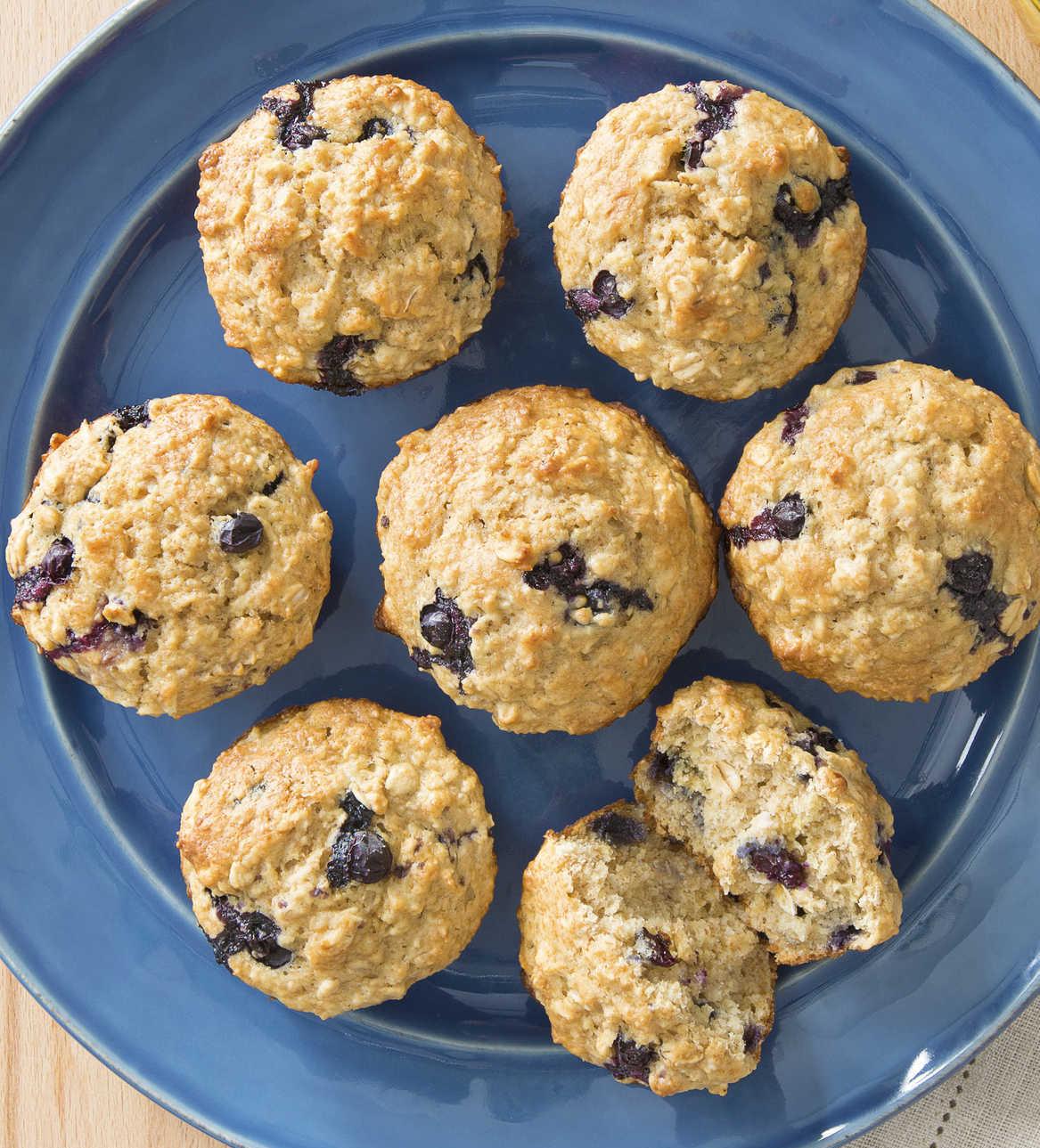 Muffins au Gruau et aux Bleuets