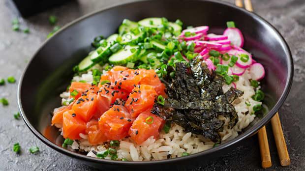 Photo Recette Bol de poké au saumon mariné