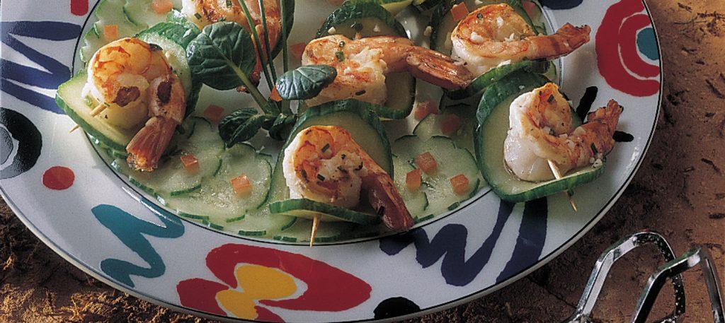Bouchées Grillées de Crevettes et Concombre