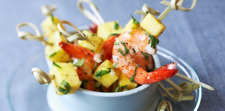 Brochettes aux Crevettes et Mangue au Miel