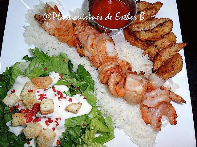 Photo Recette Brochettes de Crevettes et de Pétoncles