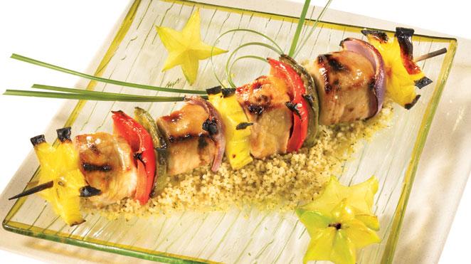 Brochettes de Porc aux Fruits Exotiques