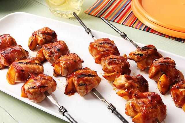 Photo Recette Brochettes de Poulet et de Pêches au Bacon