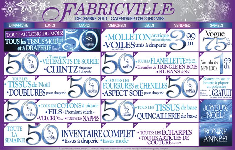 Calendrier des fêtes de Fabricville