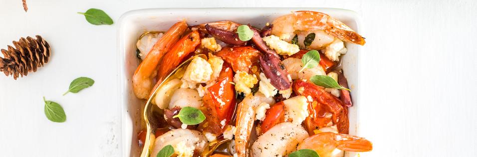 Casserole de Crevettes Fromage Fetos et Tomates Rôties