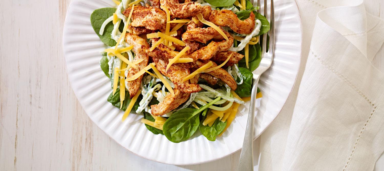 Salade de Poulet au Cheddar avec Rémoulade de Concombre